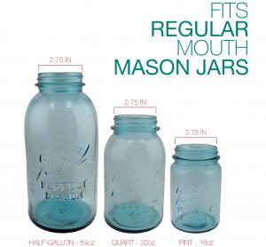 3 blue mason jars in 3 sizes - half gallon, quart and pint