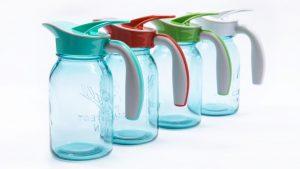 4 Ergo Spouts on blue mason jars
