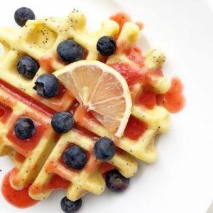 Strawberry Syrup over Lemon poppyseed waffles