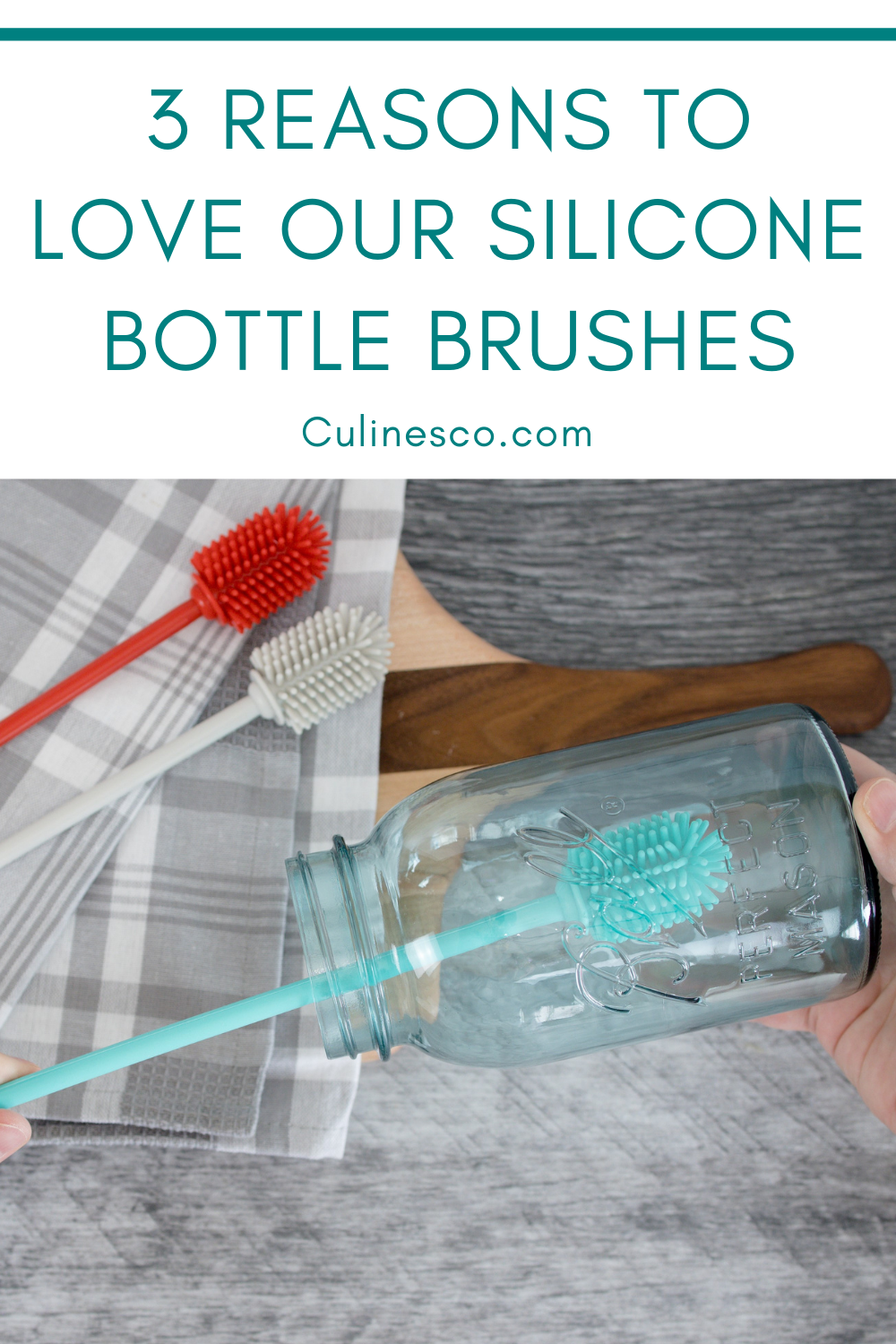Our silicone bottle brush is a fantastic tool for cleaning tall jars and bottles. Plus it comes in gorgeous colors!