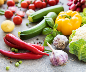 Fresh produce from a garden
